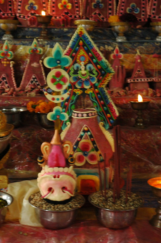 Wrathful tormas, incense, offerings, candles, flowers for Vajrakilaya, Sakya Monastery, Parping, Nepal
