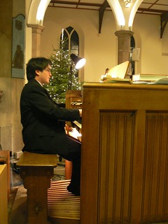 Chris plays the organ at Midnight Mass, St Mary's, Walthamstow | by essexjan