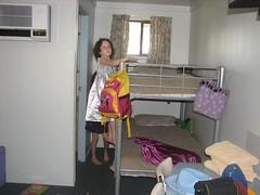 E enjoying the motel room