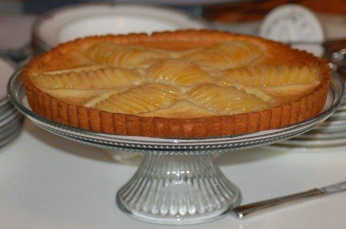 poached pear and frangipane tart