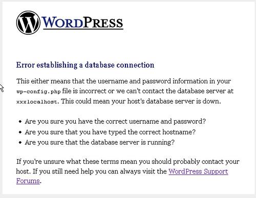 Old WordPress database error