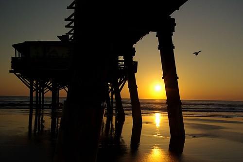 ocean morning sun silhouette yellow sunrise pier atlantic daytonabeachshores sunglowpier