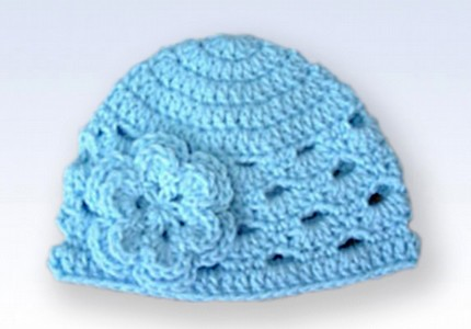 2caf44251aa ... Crochet Beanie Hat Cap With Flower - Baby Blue