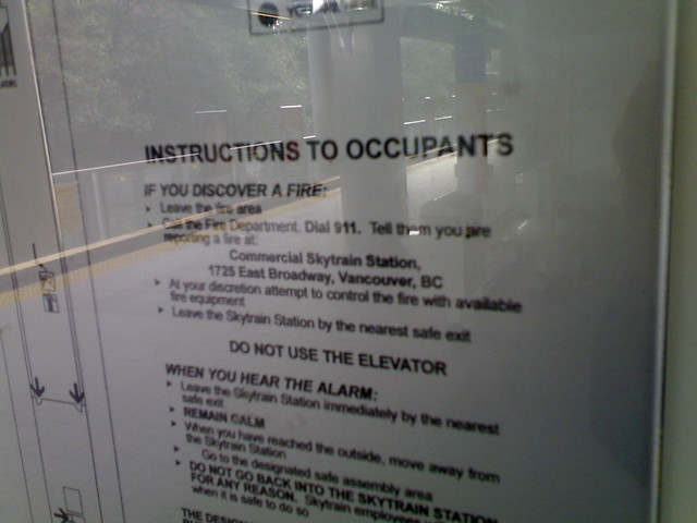 Instructions to Occupants at Commercial Drive Station