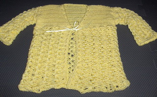 hairpin lace baby sweater | by termiknitter2