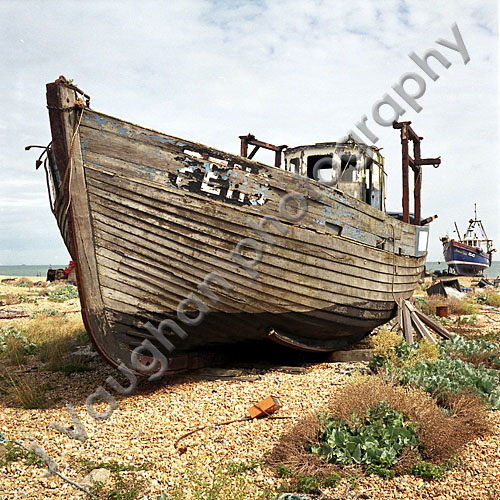 Old Fishing Boats On Beach: Old Boat Dungeness Beach Kent Uk