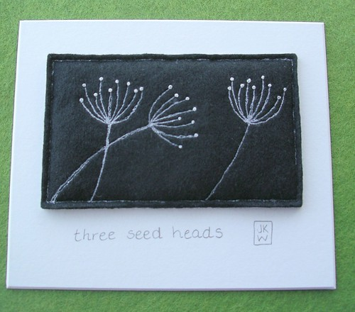Three Seed Heads - thread on felt drawing - mounted | by jkw_fire_horse