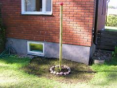 Annas installation. Nysått gräs. (ryggen mot staketet på baksidan)