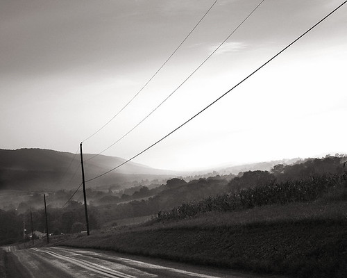 sepia landscape klingerstown pennsylvania benignascreek winery telephonepole powerlines mountains foggy