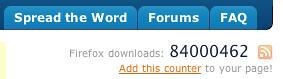 Copie d'écran de SpreadFirefox.com affichant 84 millions au compteur