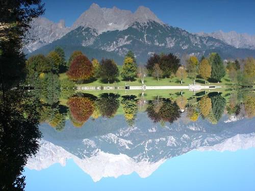 ritzensee saalfelden lake ritzen autumn fall reverse mountain mirror trees upsidedown reflection geotagged geolat47417692 geolon12847395 interestingness175 explore17oct05 austria i500 interestingness172 interestingness139