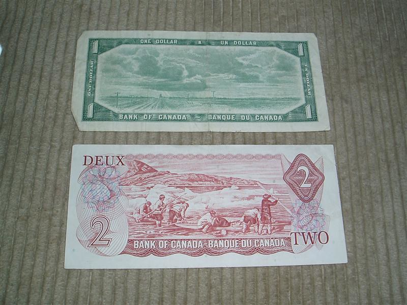 Old $1 and $2 Canadian Bills