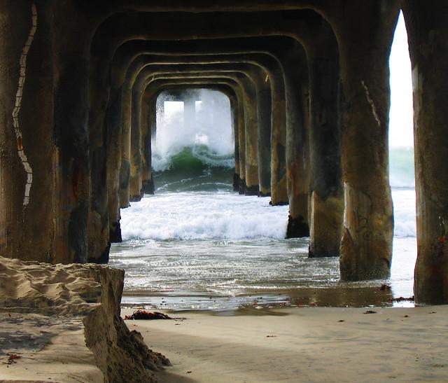 Underneath the Manhattan Beach pier