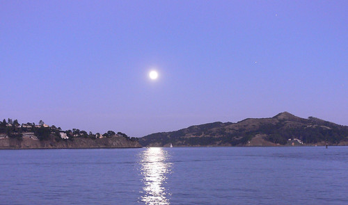Full moon rising over Belvedere, Angel Island and Raccoon Straits | by jessicafm