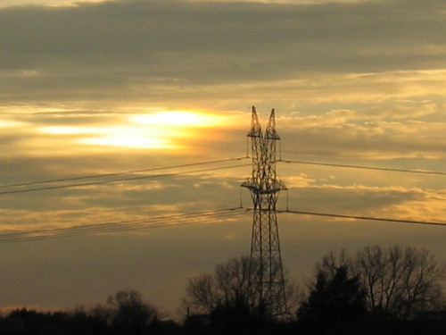 sunset texas ferris powerlines
