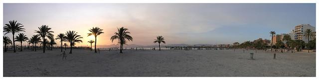 El Arenal beach - sunset panorama