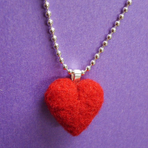 Needle Felted Red Heart Pendant on a ball chain necklace | by thefunkyfelter