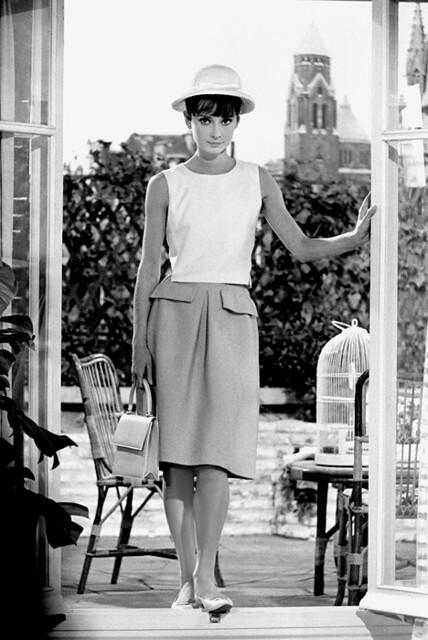 Audrey Hepburn standing on the set of Paris When It Sizzles,1962