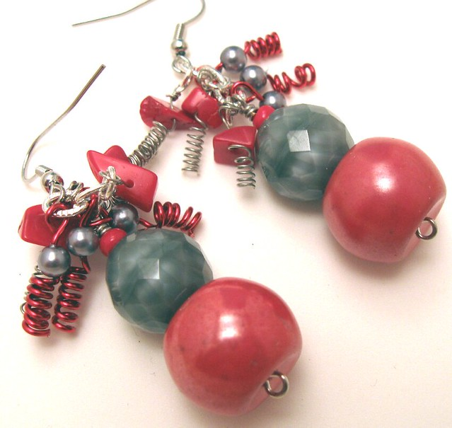 Red and Gray OSU Confetti Earrings