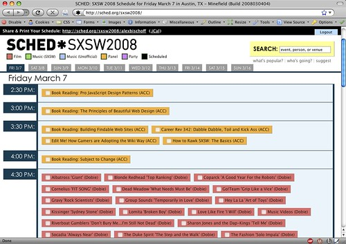 Sched.org -- Pretty Nice SXSW Calendar | by handcoding