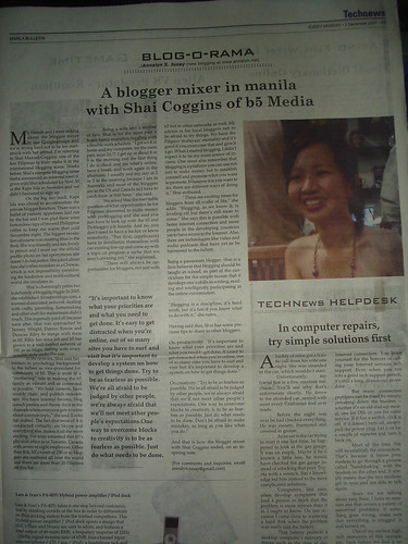 Manila Bulletin's Blog-O-Rama Interview: Published 3 Dec 07 | by Shai Coggins