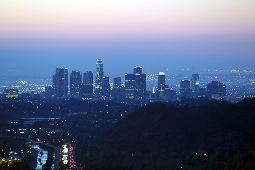 sunrise dawn losangeles skyscrapers freeway citylights wildwoodcanyon