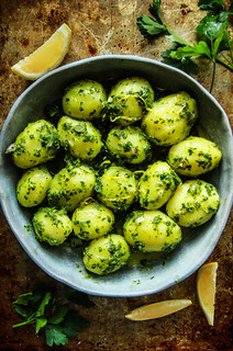 Baby Potatoes with Fresh Herb Sauce -Vegan from HeatherCHristo.com | by Heather Christo
