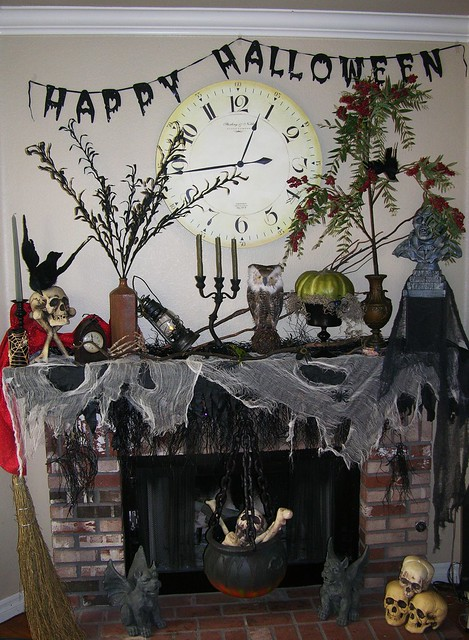 fireplace ready for Halloween