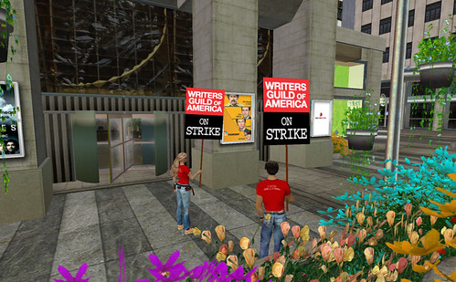 Second Life avatars supporting the WGA strike | by srnelson