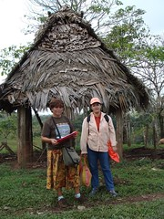 Gregoria and Lilian preparing one of their health surveys in Okawas