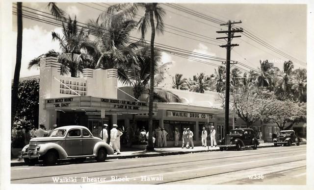 Waikiki Theatre Hawaii parking block ~ 1942 ?