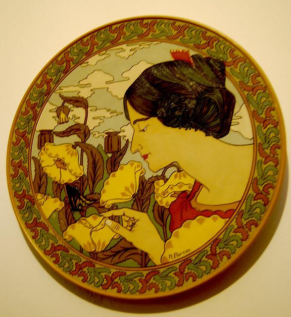 Art Nouveau Ceramic Disc