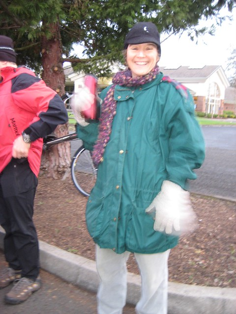 Ride start: Lynn in her civilian clothing
