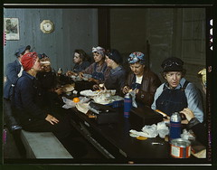 Women workers employed as wipers in the roundhouse having lunch in their rest room, C. & N.W. R.R., Clinton, Iowa  (LOC) | by The Library of Congress