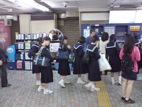 School girls at train station | by kalleboo