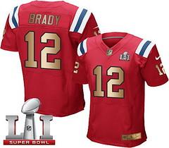 Nike Patriots #12 Tom Brady Red Alternate Super Bowl LI 51 Men's Stitched NFL Elite Gold Jersey