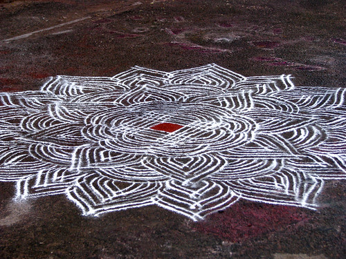 India - Sights & Culture - Intricate kolam outside the Mylapore Temple