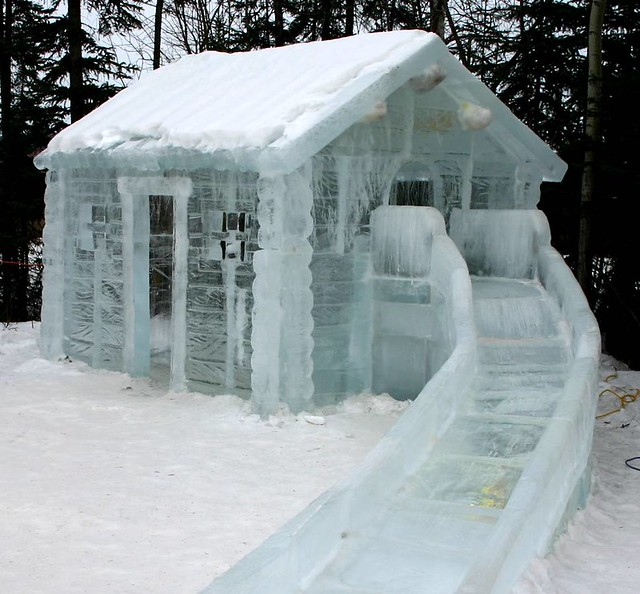 Ice cabin with a frozen slide