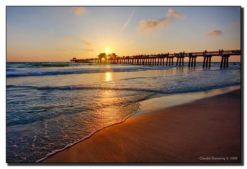 ocean sunset sun reflection gulfofmexico water pier sand florida flare naples jpeg westcoast hdr canonefs1022mmf3545usm photomatix naplespier 3exp collierco anawesomeshot theperfectphotographer dphdr goldstaraward