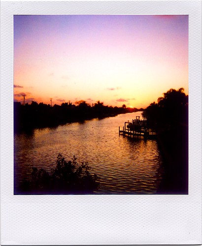 sunset water polaroid canal capecoral onestep600