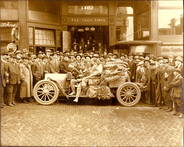 E.J. Davis and E. Edward Reed arrive in Seattle from Chicago on Monday, October 7, 1912