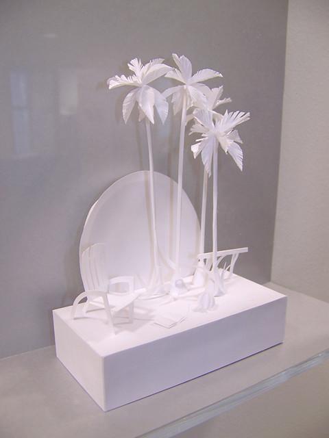 at the beach -paper sculpture - paper art