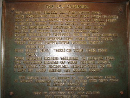 Bronze Plaque of Emma Lazarus' Poem The New Colossus at the Statue of Liberty