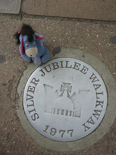 Eeyore walks in the footsteps of royalty, near Westminster Abbey & Parliament Square, London