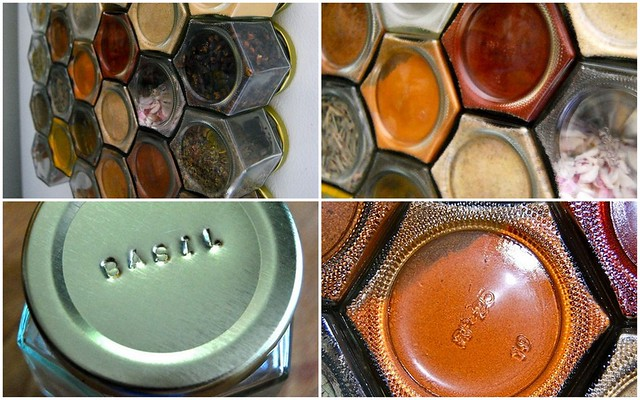 Ideas for small kitchens: Magnetic honeycomb spice rack