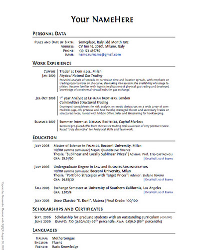 clean professional latex cv template