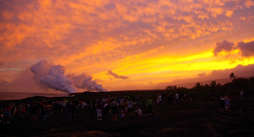 ocean park sunset hawaii lava crowd national volcanoes chainofcraters