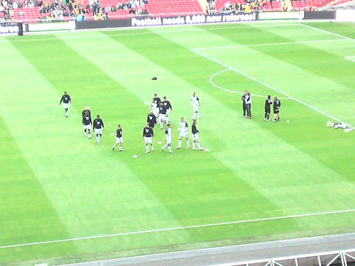 Gulls Players Warming-Up on the Wembley Turf