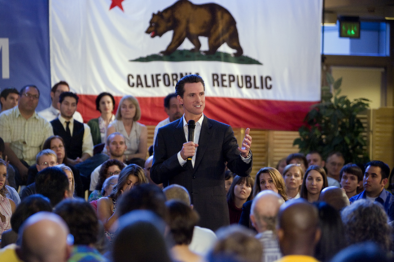 Gavin Newsom in Sacramento
