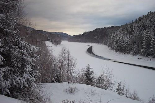 winter snow ice river landscape vermont connecticut